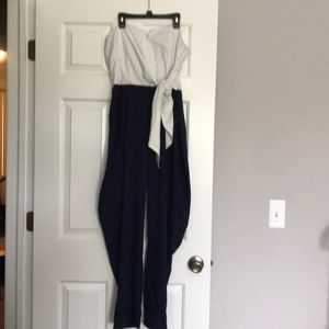 Strapless White/Navy Pantsuit with Side Tie